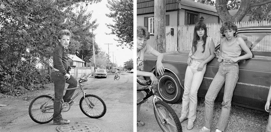 Left: Boy on Bicycle. Right: Two Girls with Big Wheels