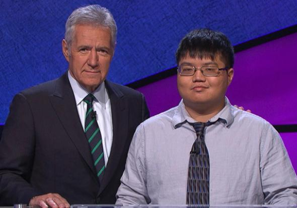 Jeopardy! host Alex Trebek and Arthur Chu