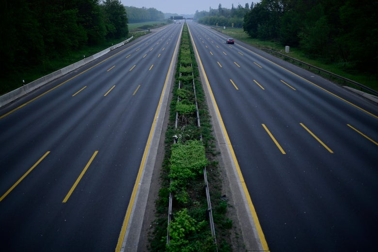 Overhead shot of an empty highway.
