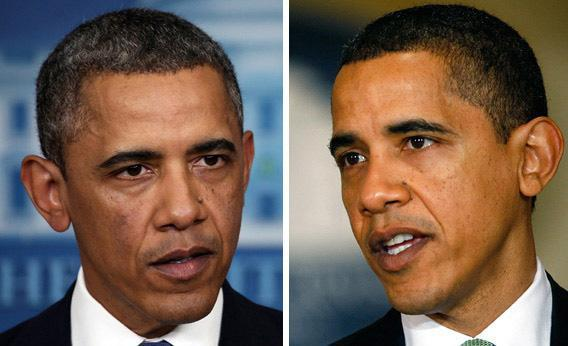 President Barack Obama on (L) December 28, 2012 and again on March 17, 2009 (L).