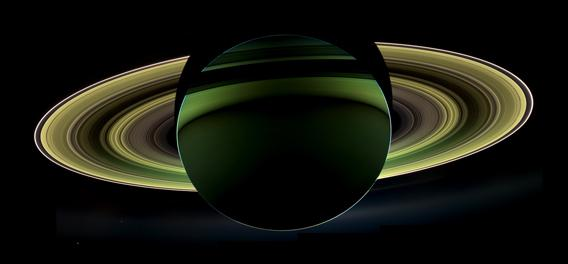 Saturn, backlit