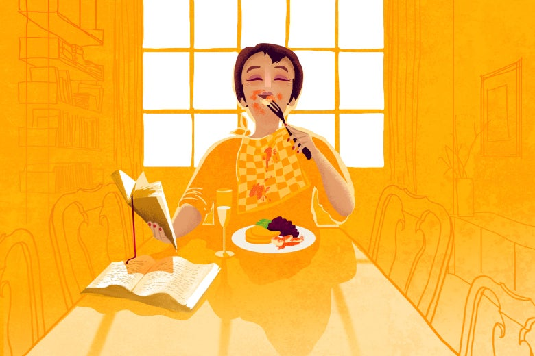 A woman sitting at Thanksgiving dinner alone, reading a book and looking happy