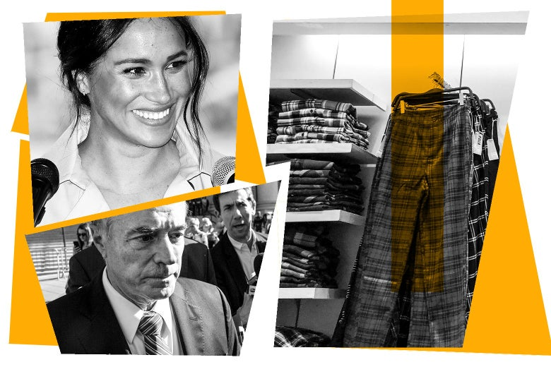 Meghan, Duchess of Sussex; Rep. Chris Collins; and clothes from a store.