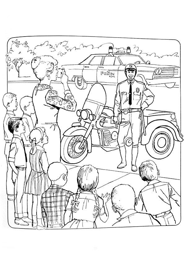 An illustration of Officer Friendly visiting a school and its students and a teacher taking a photo.