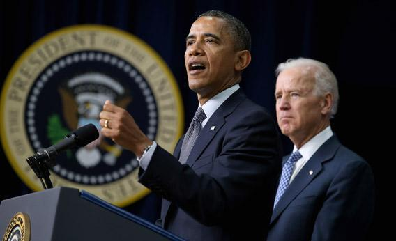 President Obama, left, and Vice President Biden announce the administration's new gun law proposals on Wednesday in Washington, D.C.