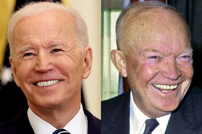 Side-by-side photos of Joe Biden and Dwight Eisenhower both smiling