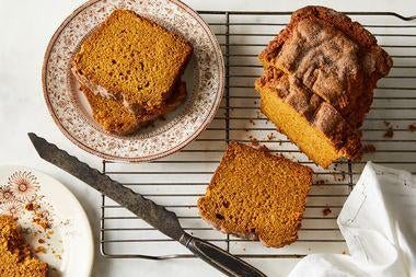 Sliced pumpkin bread.
