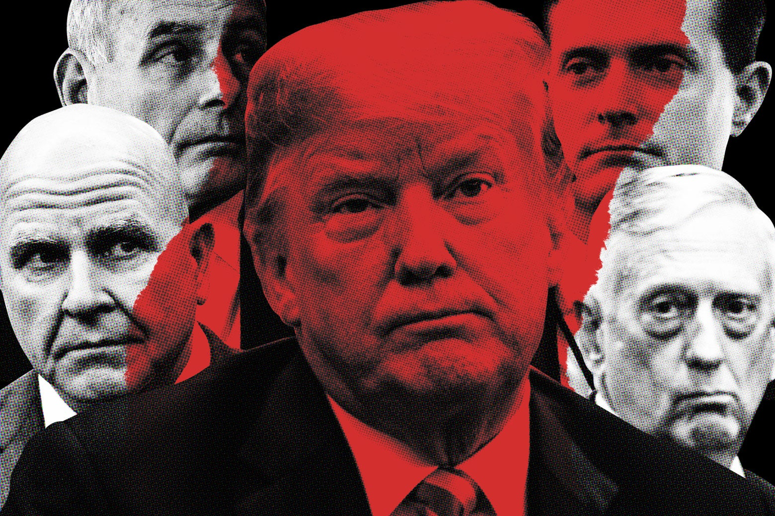 Photo illustration of Donald Trump, James Mattis, John Kelly and other officials.
