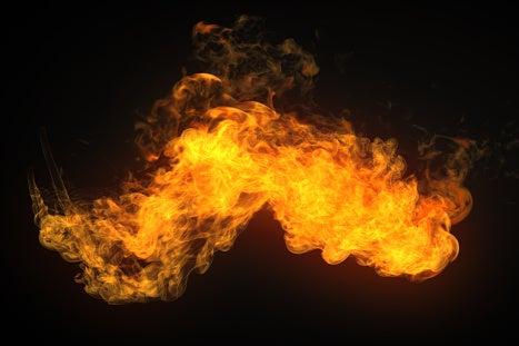 Fire from a flamethrower.