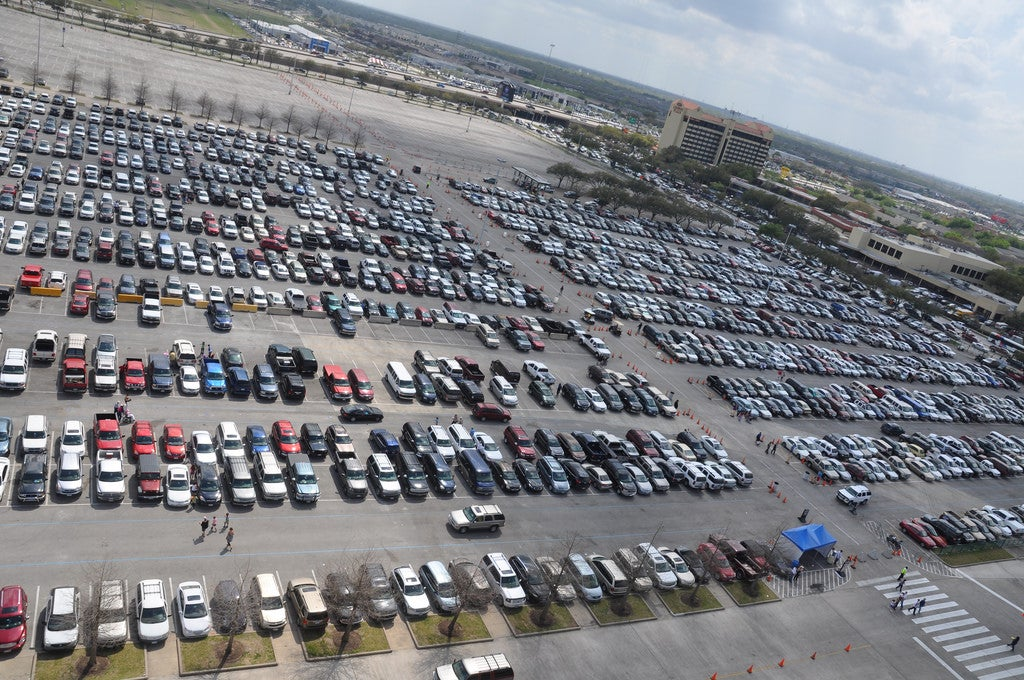 Parking lot outside the Houston Rodeo, March 2011.