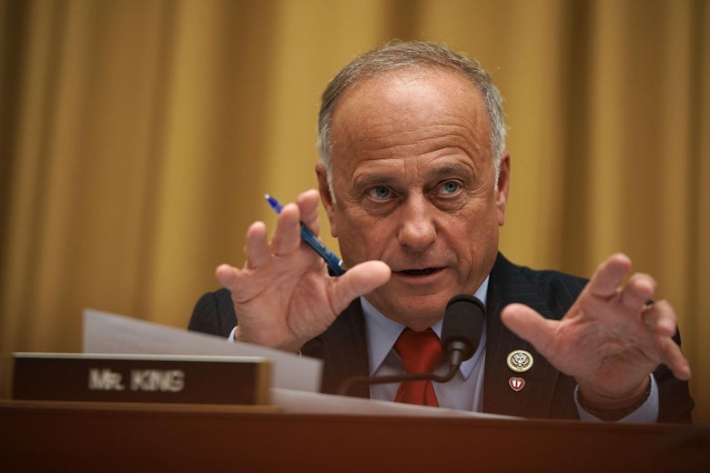"Rep. Steve King makes a gesture as he speaks at a committee hearing. ""Srcset ="" https://compote.slate.com/images/b76828db-4a80-4a00-93a8-8d9f80bbacc1.jpeg?width=780&height=520&rect=3000x2000&offset=0x0 1x, https://compote.slate.com/images /b76828db-4a80-4a00-93a8-8d9f80bbacc1.jpeg?width=780&height=520&rect=3000x2000&offset=0x0 2x"