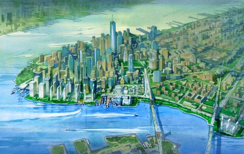 A rendering shows a new row of skyscrapers on reclaimed land off the shore of Lower Manhattan.