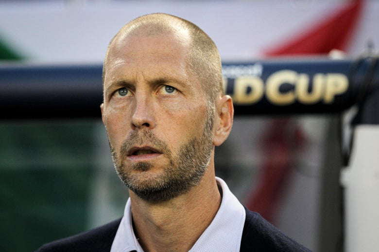 Gregg Berhalter with a bewildered look on his face.