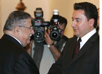 Turkish Foreign Minister Ali Babacan with Iraq's President Jalal Talabani.