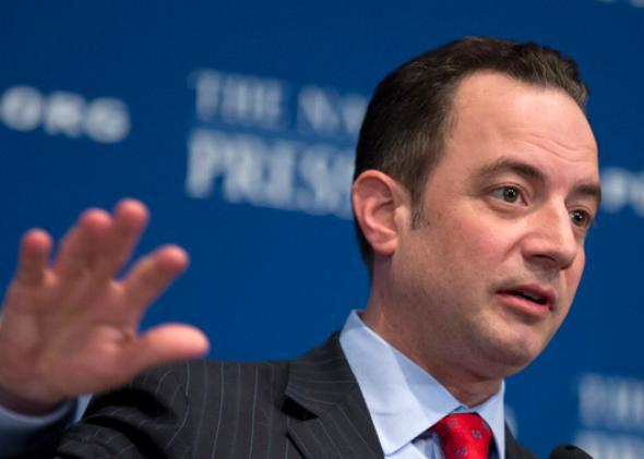 Republican National Committee Chairman Reince Priebus gestures while speaking at the National Press Club in Washington, Monday, March 18, 2013.