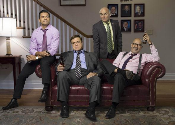 "From left, Mark Consuelos, John Goodman, Matt Malloy and Clark Johnson, star in ""Alpha House"" from Amazon Studios."