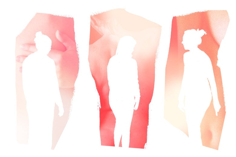 Photo silhouettes of three women
