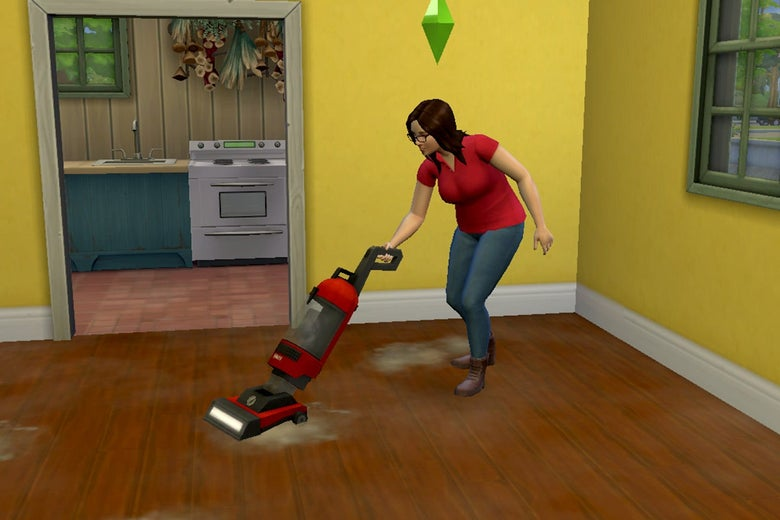 In a virtual room, a brown-haired Sim with a green plumbob over her head vacuums amid piles of gray dust.