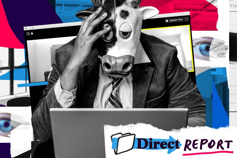 A man in a suit and a cow mask holds his head as he looks at his laptop.