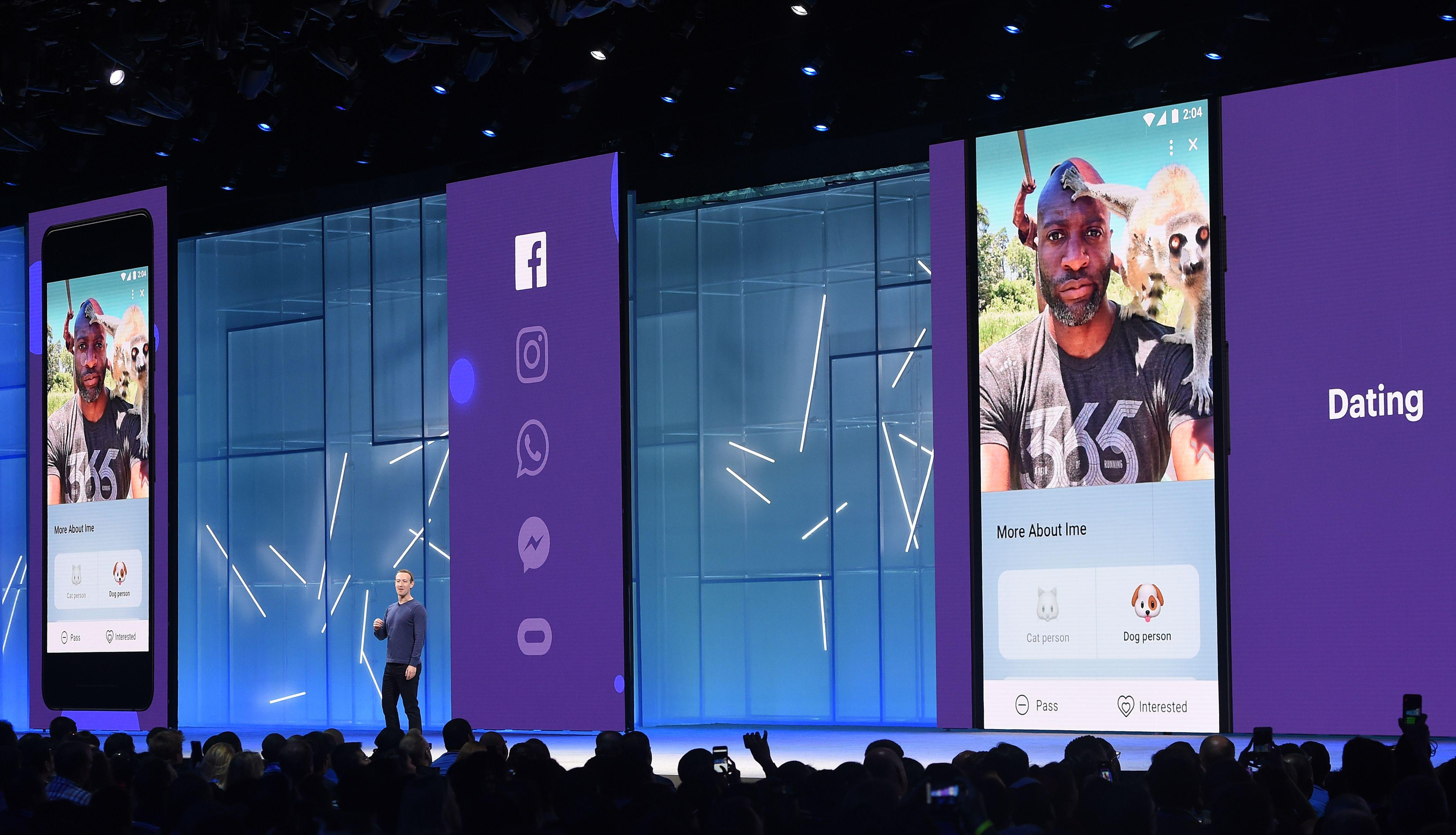 Facebook CEO Mark Zuckerberg speaks onstage during the annual F8 summit at the San Jose McEnery Convention Center.