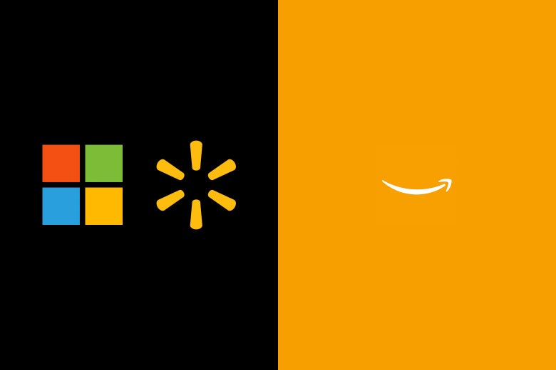 Microsoft and Walmart logos on one side, Amazon logo on the other.