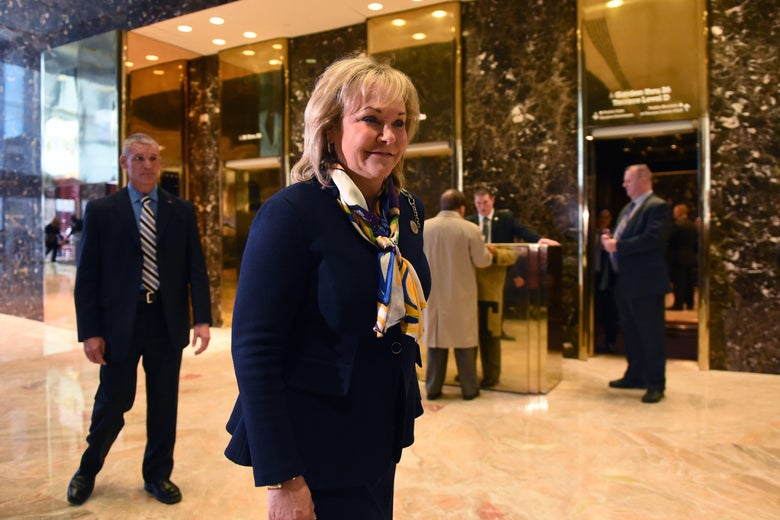 Oklahoma Governor Mary Fallin arrives at Trump Tower on November 21, 2016 in New York.