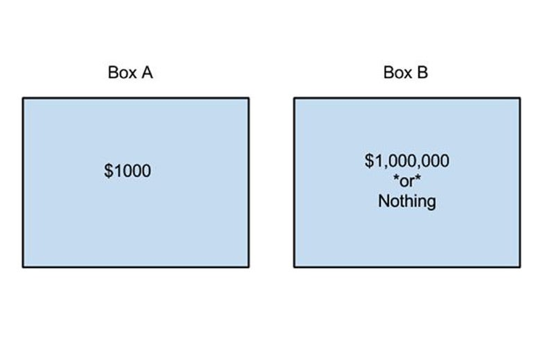 A chart where you can choose Box A containing $1,000 or Box B containing $1,000,000 or nothing.