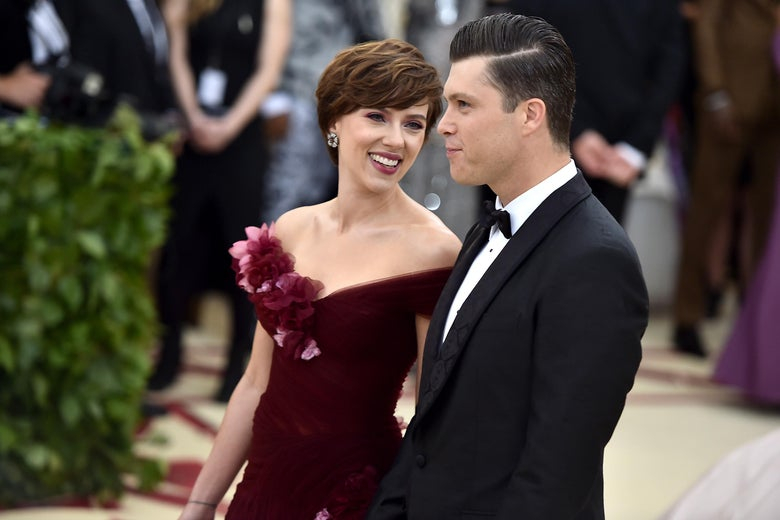Scarlett Johansson and Colin Jost walk the red carpet at the Heavenly Bodies: Fashion & The Catholic Imagination Costume Institute Gala at The Metropolitan Museum of Art on May 7, 2018 in New York City.