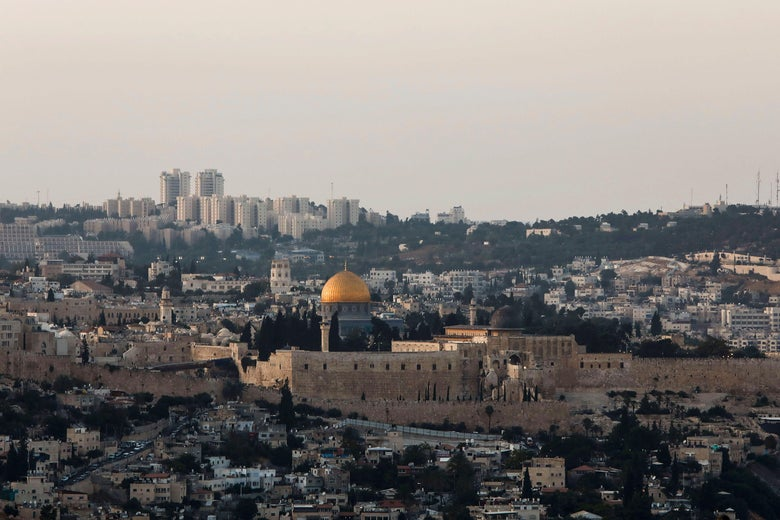 A picture taken on July 27, 2017 shows a general view of Jerusalem's Old City skyline from the west, with the Golden Dome of the Rock seen in the centre of Al-Aqsa mosque compound, also known as the Haram al-Sharif or to Jews as the Temple Mount. / AFP PHOTO / GALI TIBBON        (Photo credit should read GALI TIBBON/AFP/Getty Images)