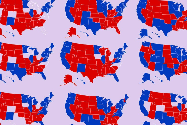 9 USA maps with different states filled in red and blue