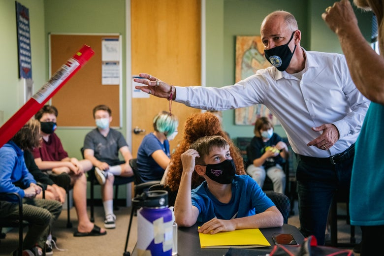 An instructor leads a classroom discussion at the Xavier Academy on August 23, 2021 in Houston, Texas.