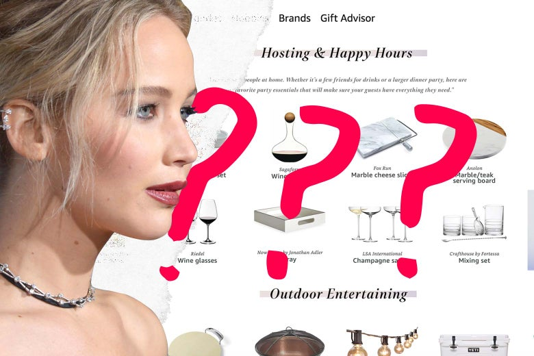 Jennifer Lawrence's profile over the Amazon page for her registry, with question marks.