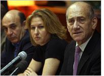 Shaul Mofaz (left) and Tzipi Livni listen as Ehud Olmert speaks. Click image to expand