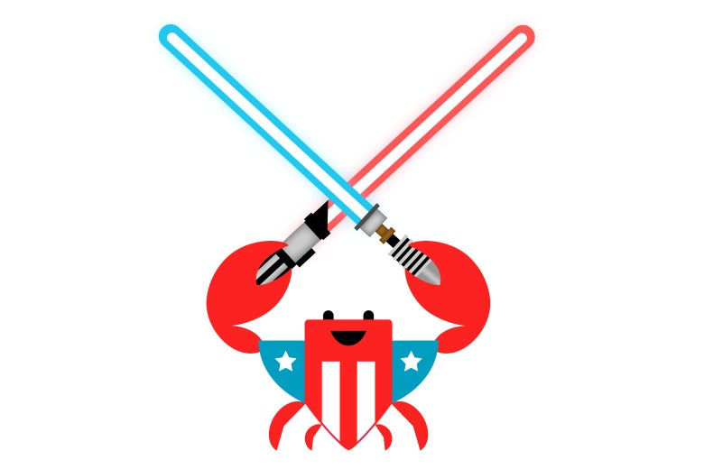 U.S. Digital Service A red, white, and blue crab bearing two crossing lightsabers