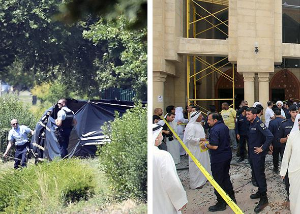 Left-side: French security stand next to the enclosed area where a decapitated body was found, near the Air Products company, in Saint-Quentin-Fallavier, near Lyon, central eastern France, on June 26, 2015. Right: Kuwaiti security forces gather outside the Shiite Al-Imam al-Sadeq mosque after it was targeted by a suicide bombing during Friday prayers on June 26, 2015, in Kuwait City.