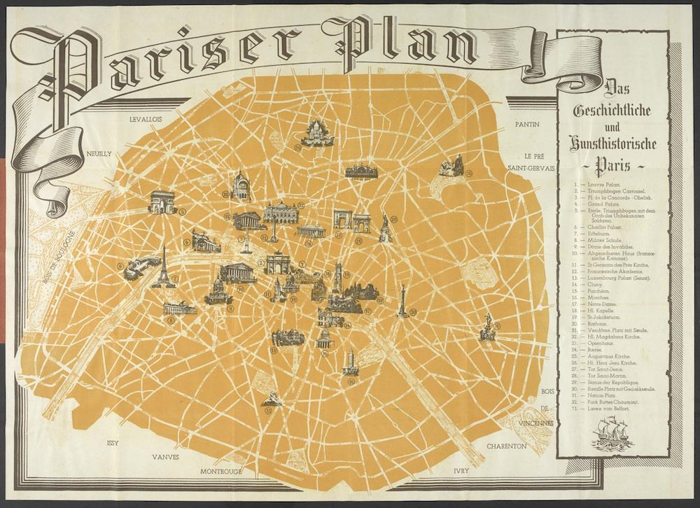 History of the occupation of Paris: Map issued to German soldiers on ...
