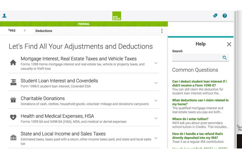 H&R webpage for deductions