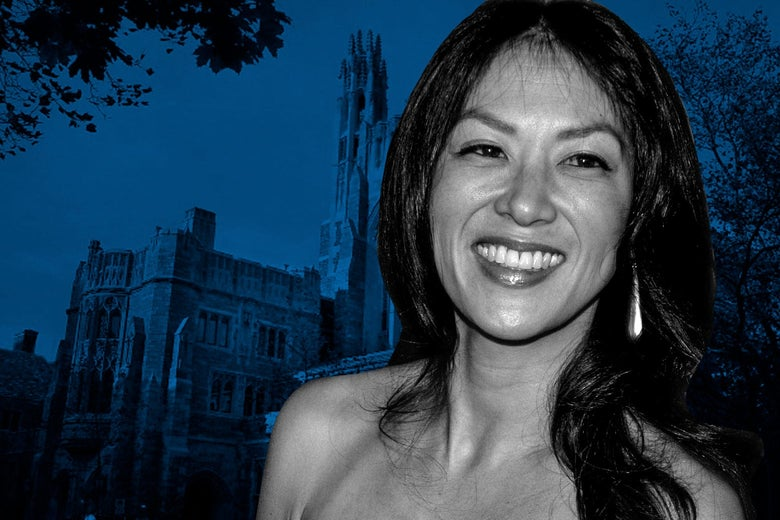 Photo illustration of Amy Chua with a Yale Law School building in the background.