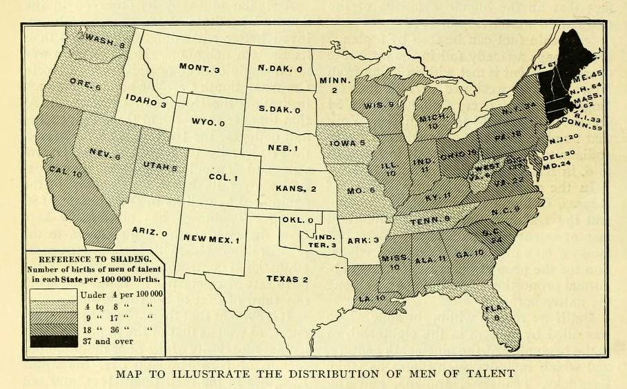 Map Of The Most Intellectual States In The Early 20th Century Us - Early-us-maps
