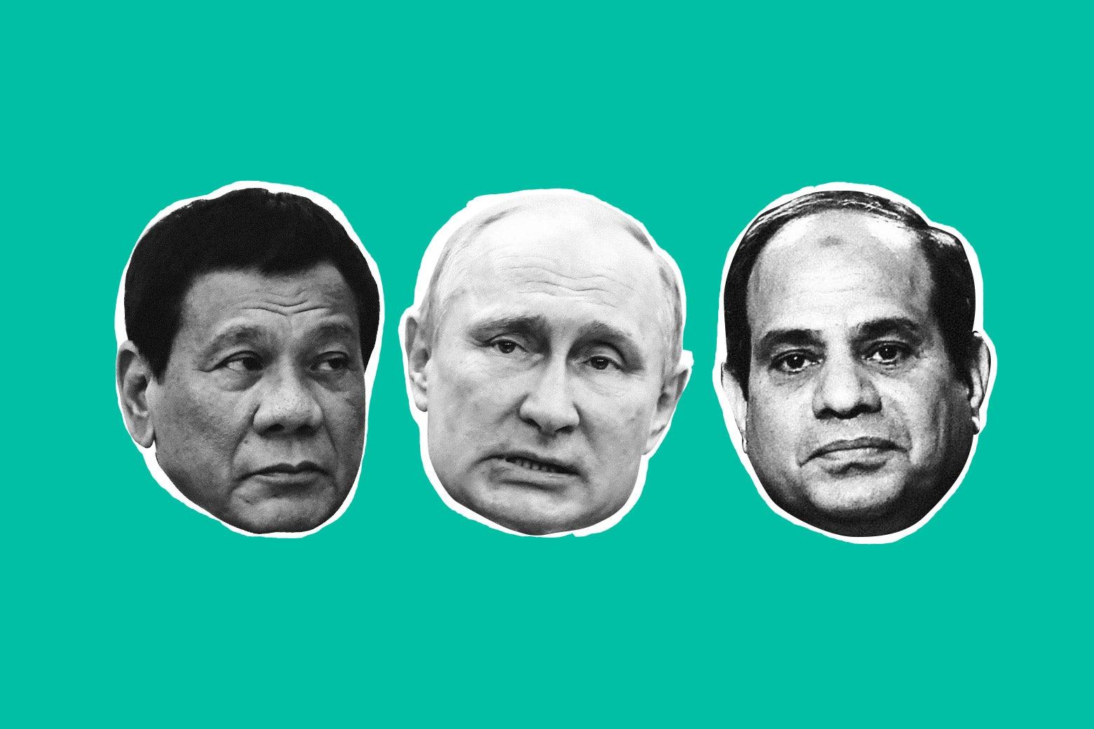 Philippine President Rodrigo Duterte, Russian President Vladimir Putin, and Egyptian President Abdel Fattah el-Sisi.