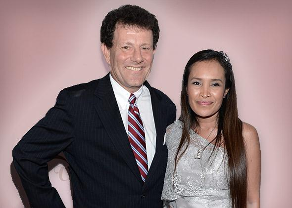 New York Times columnist Nicholas D. Kristof and author Somaly Mam on September 18, 2012 in New York City.