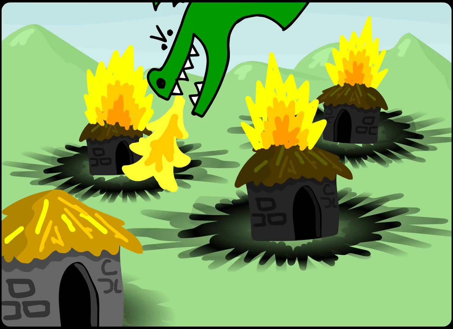 Trogdor burninating some cottages.