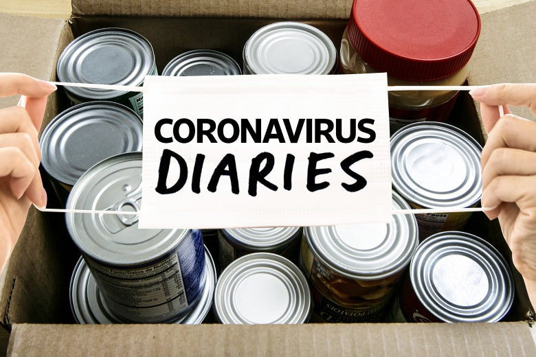 "A mask labeled ""coronavirus diaries"" is held up over a cardboard box filled with cans."