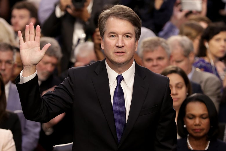 Judge Brett Kavanaugh is sworn in during his confirmation hearing on Capitol Hill Sept. 4, 2018.
