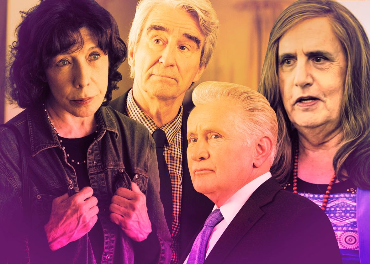 Lily Tomlin in Grandma, Sam Waterston and Martin Sheen in Grace & Frankie, Jeffrey Tambor as Maura in Transparent.