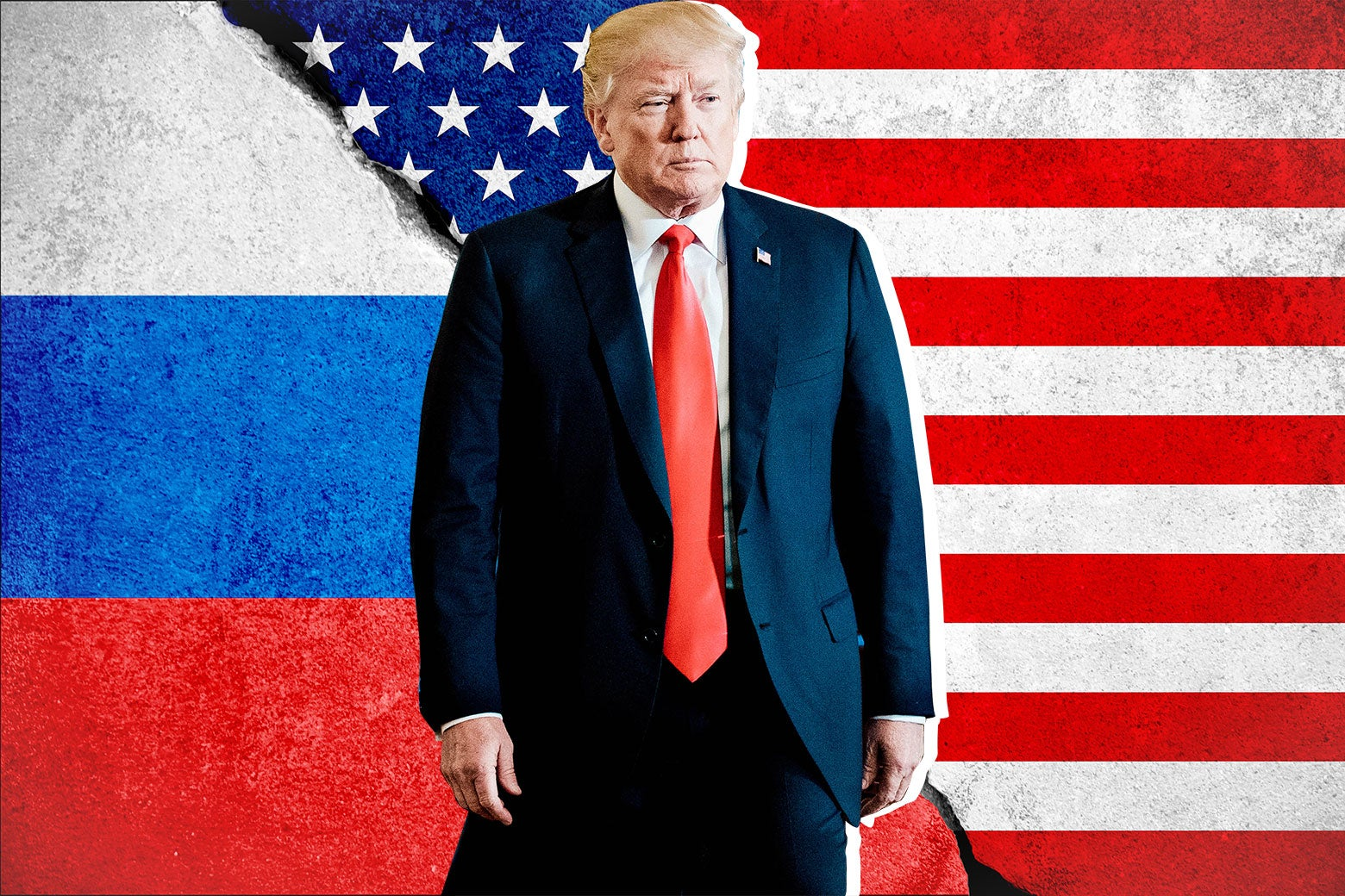 Photo illustration: Donald Trump stands in front of the U.S. and Russian flags.