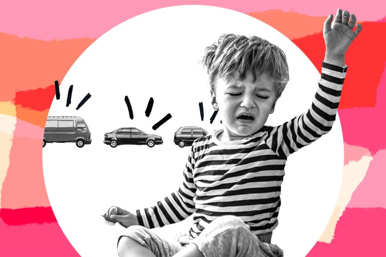 Collage of a toddler waking up crying beside a line of cars, with honking lines beeping from each car.