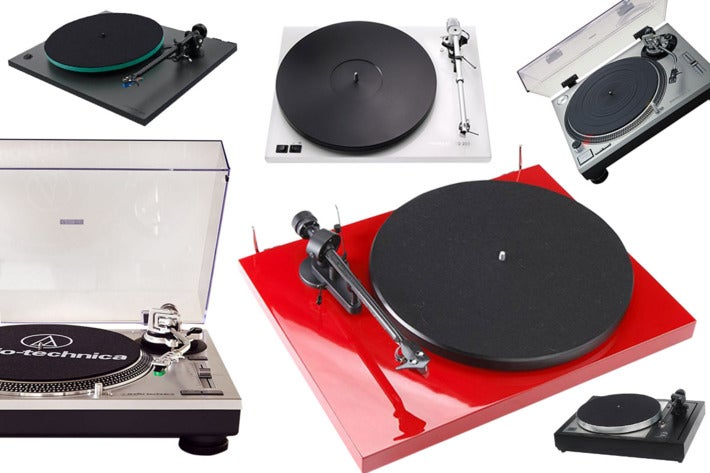 Collage of various turntables.