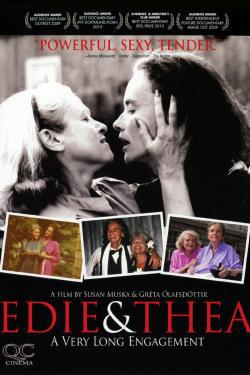Movie poster for Edie & Thea: A Very Long Engagement. Edie grasps Thea's face with her hands.