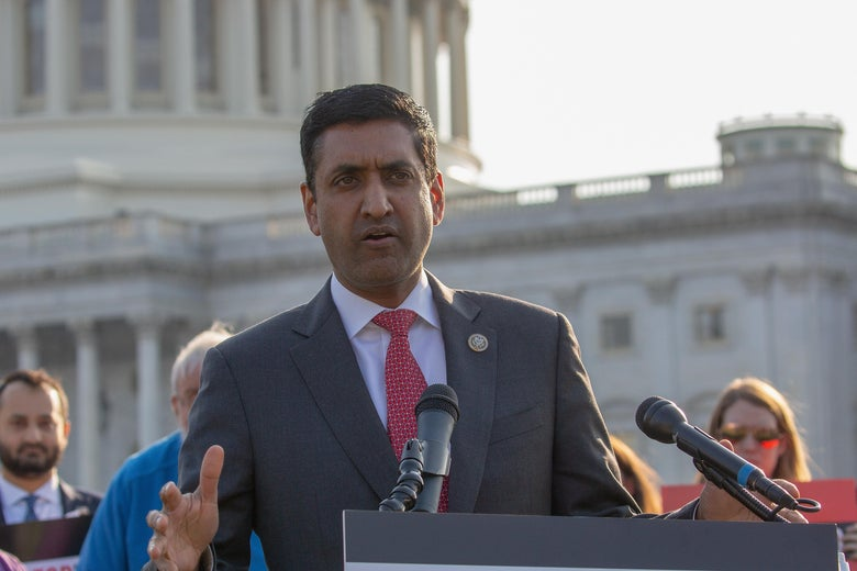 Ro Khanna at a lectern before the U.S. Capitol building